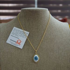 Necklace gold plated 24k with evil eye pendant